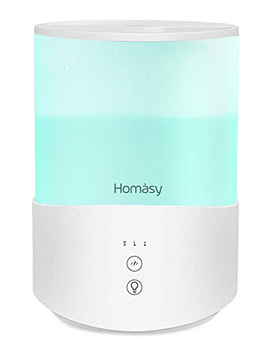 Homasy Cool Mist Humidifier, 2.5L Essential Oil Diffuser with 7-Color Mood Lights, Top Fill Humidifier for Bedroom, Air Humidifier with Adjustable Mist Output, Sleep Mode, Auto Shut Off