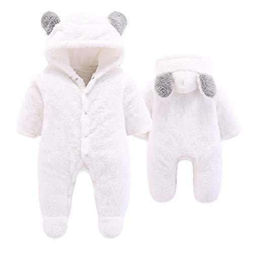 VNVNE Newborn Baby Cartoon Bear Snowsuit Warm Fleece Hooded Romper Jumpsuit (White, 3-6 Months, 6_Months)