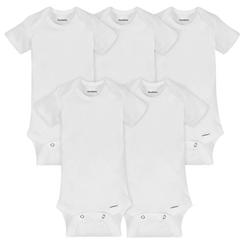 GERBER Baby 5-Pack or 15 Multi Size Organic Short Sleeve Onesies Bodysuits, White 5 Pack, 3-6 Months