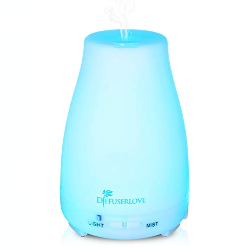 Diffuserlove 200ML Essential Oil Diffusers Ultrasonic Mist Humidifiers BPA-Free Aromatherapy Diffuser with 7 Color LED Lights Waterless Auto Shut-Off for Bedroom Office Kids Room Kitchen