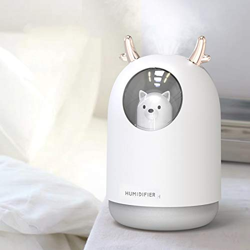 HOPEME USB Cool Mist Humidifier, 300ml Mini Portable Humidifier with 7 Color LED Night Light, Adjustable Mist Mode and Auto Shut-Off, Quiet Operation for Kid, Child (White Color)