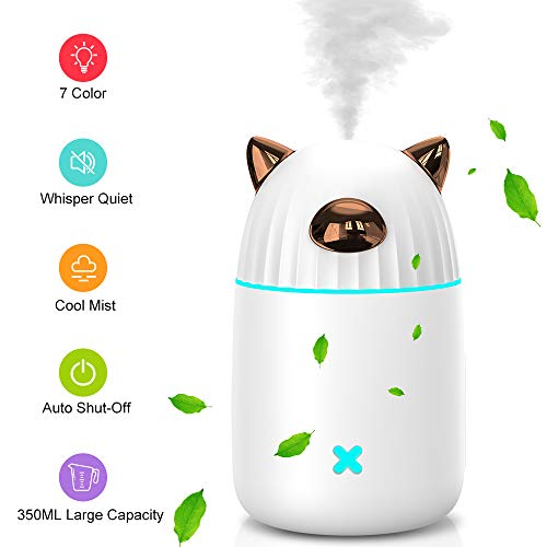 Cafele Air Humidifier 350ml, Essential Oil Diffuser with Colorful LED Lights, 25dB Quiet Cool Mist Diffuser for Home, Office, Yoga, Bedroom, Up to 20 Hours Continuous Use and Auto Shut-Off (White)