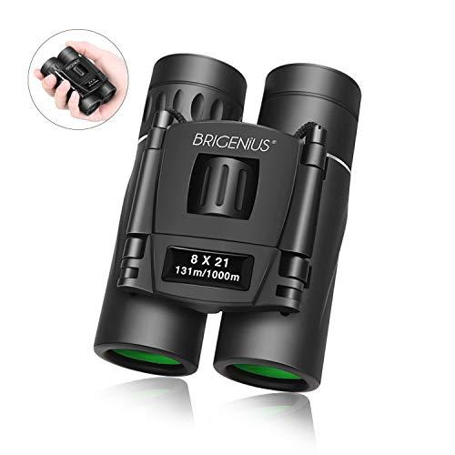 BRIGENIUS 8x21 Premium Pocket binoculars for Bird Watching Small Compact Binoculars for Adults Kids Lightweight Concert Theater Opera Mini Folding Binoculars Lens for Travel Hiking (0.38lb)