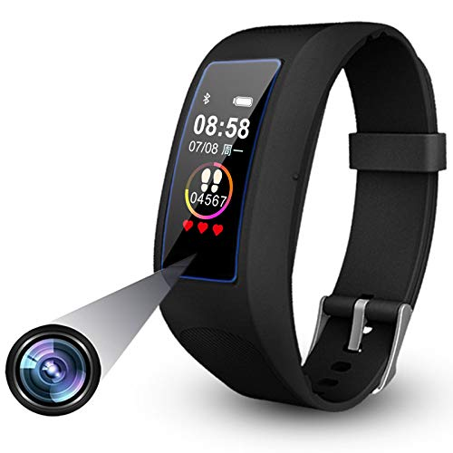 Mini Spy Camera Activity Tracker, Wearable Camera Bracelet Touchscreen 1080P Hidden Camera Wristband Invisible Lens Hole Spy Watch Mini Spycam DV with Bluetooth for Smartphone (32GB)