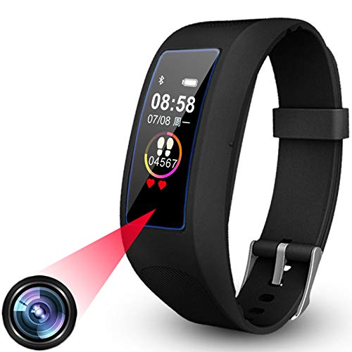Hidden Camera Smart Watch, 1080P Wearable Camera Fitness Tracker, Portable Spy Camera Watch, Invisible Lens Mini Video Recorder DVR Bluetooth Smartwatch Compatible with Android iOS 16GB