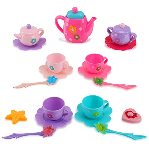 Liberty Imports Princess Royal Tea Set Pretend Playset - Kids Tea Party Play Food Accessories Kitchen Toy Teapot Gift Set for Girls (21-Piece)