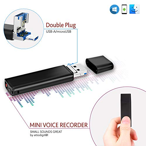 USB Voice Activated Recorder – 94 Hours Capacity | Easy to Use Sound Recorder | 26 Hours Battery Life | Double Plug USB/Micro USB | - lightREC by aTTo Digital