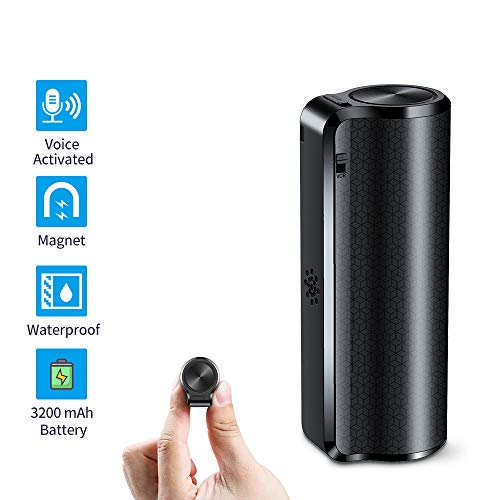 Mini Voice Recorder, 16GB Magnetic Vocie Activated Recorder 3200mAh - 19Days Long Battery Recording Time, Micro Waterproof Recorder Device Ideal for Lessons, Meetings, Interviews