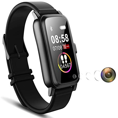 Wearable IP68 Waterproof Smart Watch with Mini Spy Camera Hidden Invisible Cam Lens Hole Touchscreen 1080P Video Voice Record, Fitness Tracker Bracelet Wristband Spy Watch for Smartphone (32GB)