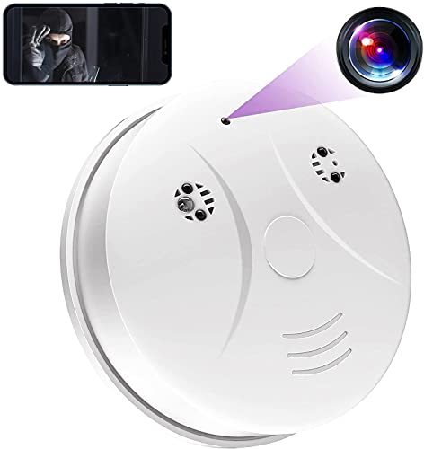 Spy Smoke Detector Camera, HD 1080P WiFi Camera Hidden Smoke Detector Nanny Camera, Hidden Spy Camera with Motion Detection, Night Vision Video Recorder Real-Time View Mini Cam for Home and Office