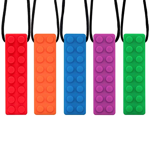 Novelfun Sensory Chew Necklace, 5 Pack Silicone Chew Pendant Training and Development Fidget Toy Chewing Necklace for Teething Babies, Autism ADHD SPD, Oral Motor, Anxiety, Autistic Children