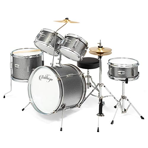 Ashthorpe 5-Piece Complete Kid's Junior Drum Set with Genuine Brass Cymbals - Children's Advanced Beginner Kit with 16' Bass, Adjustable Throne, Cymbals, Hi-Hats, Pedals & Drumsticks - Silver