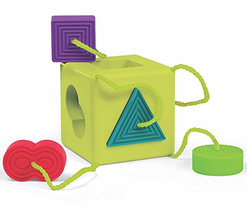 Oombee Cube Toy For Ages 1+ Shape-sorting cube with 6 rubbery shapes tethered to its corners