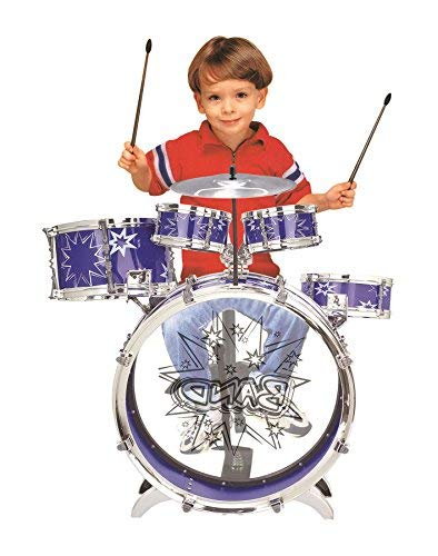 SOKA Big Band Children's Rockstar Drums & Cymbal Kit With Stool – Realistic Percussion Toy BLUE