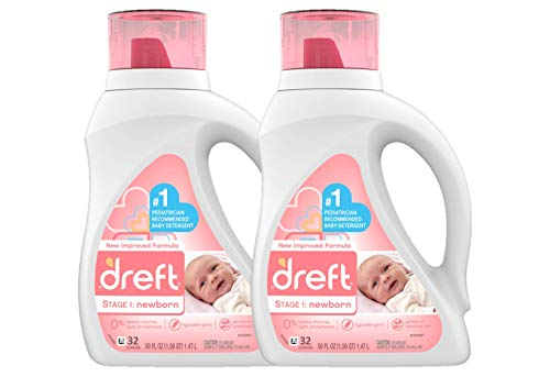 Dreft Stage 1: Newborn Hypoallergenic Liquid Baby Laundry Detergent (HE), Natural for Baby, Newborn, or Infant, 32 Loads (Packaging May Vary), 50 Fl Oz (Pack of 2)