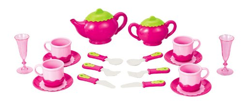 Liberty Imports Deluxe Pink Tea Set for Kids with Tea Pots, Cups, Dishes and Kitchen Utensils (18 pcs)