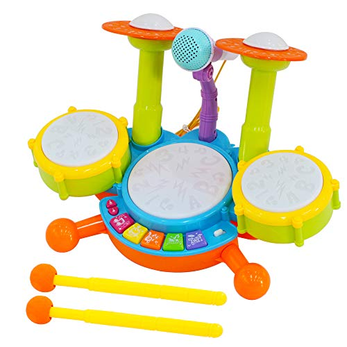 deAO Beginners Musical Table Top Drum Kit Play Set with Drum Sticks, Microphone, Light Features, Interactive Music and Sounds for Babies Kids and Toddlers