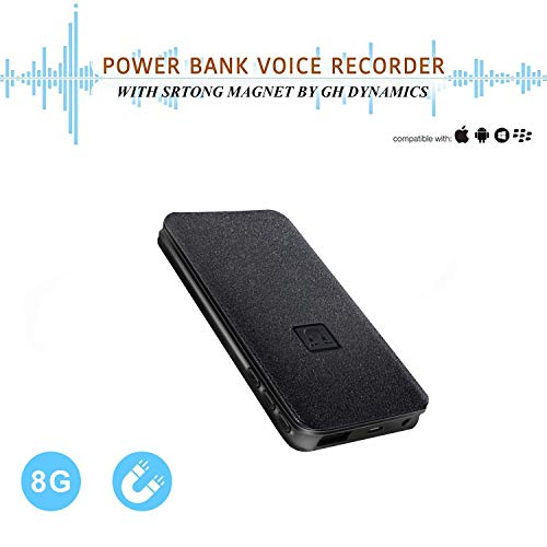 Voice Activated Recorder - 5000mh Power Bank Up to 25 Days Continuous Audio Recording,8GB 94 Hours Recordings Capacity, Functional Portable Charging Device   Build-in Strong Magnet