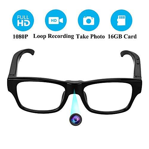 Spy Cameras, OMOUP 16GB 1080P HD Spy Glasses with Hidden Cameras Sports Eyewear Mini Camera Glasses Portable for Classroom Meeting Travel