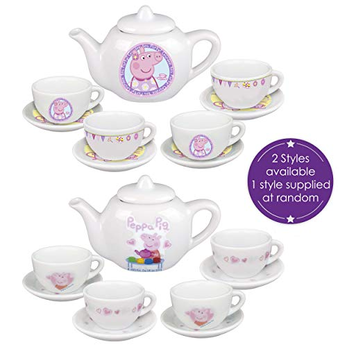 HTI Toys & Games Official Peppa Pig Porcelain Tea Dinner Set | Includes Teapot, Saucers & Cups | Fun Child Tea Pot Set for Little Boys & Girls Age 3 Years +