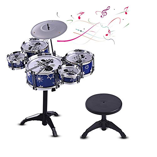Children Kids Jazz Drum Set Kit Musical Educational Instrument Toy 5 Drums + 1 Cymbal with Small Stool Drum Sticks for Kids (Blue)