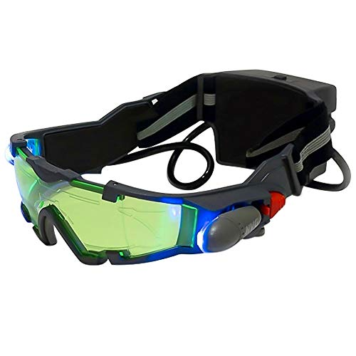 ALLOMN Adjustable Kids LED Night Green Lens Glasses Spy Night Vision Goggles with Flip-Out for Hunting Racing Bicycling, Skying to Protect Eyes