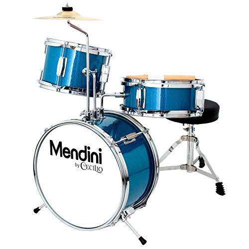 Mendini by Cecilio 13 inch 3-Piece Kids/Junior Drum Set with Throne, Cymbal, Pedal & Drumsticks, Metallic Blue, MJDS-1-BL