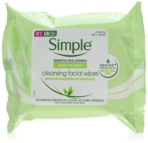 Simple Kind to Skin Cleansing Facial Wipes make up remover and Lifts Impurities Out, 25 Face Wipes, (Pack of 6 x 25)