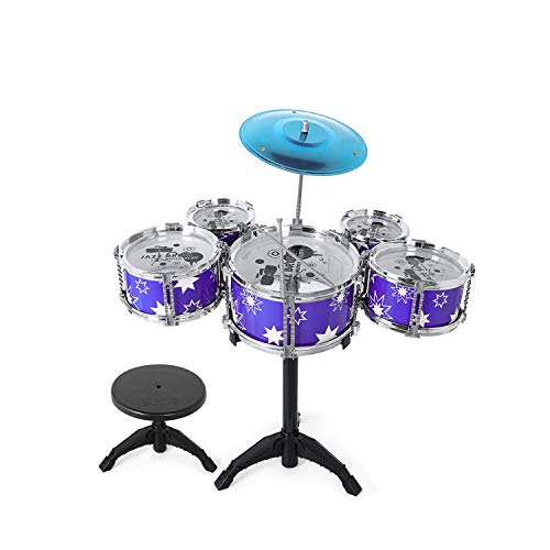 M SANMERSEN Kids Drum Kit 9 Pieces Drum Set for Kids Jazz Drum Set with Drum Throne for Children Boys Girls Kids (Blue)