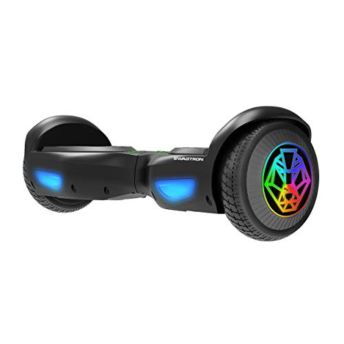 Swagtron Swagboard T882 LED Lithium-Free Hoverboard with LED Wheels, Startup Balancing, Dual 250W Motors, Patented SentryShield Quantum Battery Protection