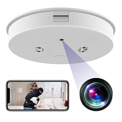 KAMRE WiFi Smoke Detector Camera, HD 1080P Wireless Mini Security Camera Night Vision Motion Detection Video Recorder Real-Time View Nanny Cam
