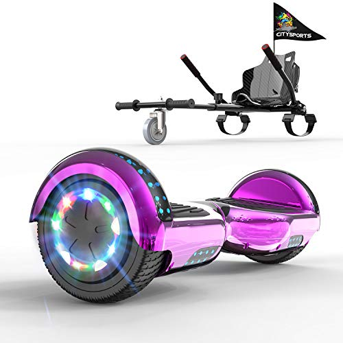 GeekMe Self balance Scooter with hoverkart 6.5 Inches LED Lights- Bluetooth Speaker -Gift for kids and adults!