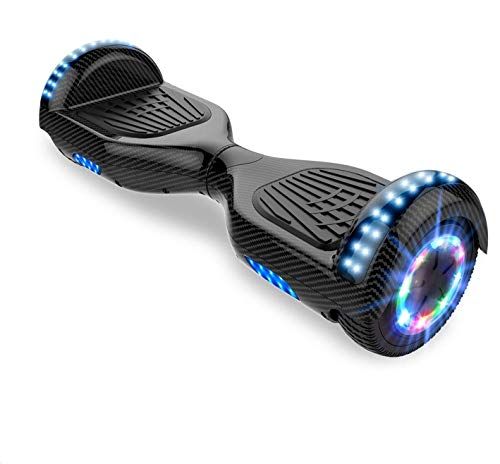 Hoverboards for kid, Self Balance Scooter with Hoverkart 6.5 Inches LED with Lights and Bluetooth Speaker Best Gifts for Kids (Carbon black)