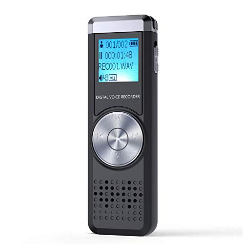 32GB Digital Voice Recorder, KINPEE Audio Recorder Sound Recorder Portable MP3 Dictaphone for Lecture Meeting Rechargeable Audio Recording Device Voice Activated Recorder with Playback for Interview