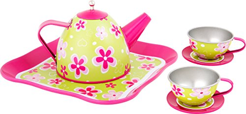 Small Foot 10511 Tea Set for Children with Girlish Flower Patterns in Bright Colours, with teapot and Two Cups with a drip mat and Tray, for a Puppy Picnic