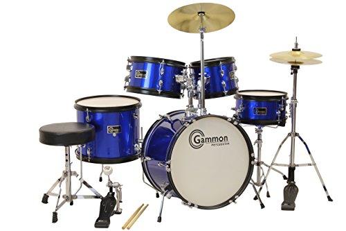 Gammon 5-Piece Junior Starter Drum Kit with Cymbals, Hardware, Sticks, & Throne - Metallic Blue
