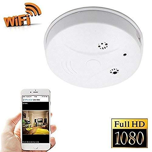 TenSky 1080P HD P2P WiFi Hidden Camera Smoke Detector Nanny Spy Cam With 90° Wide View Angle and Motion Detection for Home Security & Surveillance Free Apps for iOS Android, PC and Mac