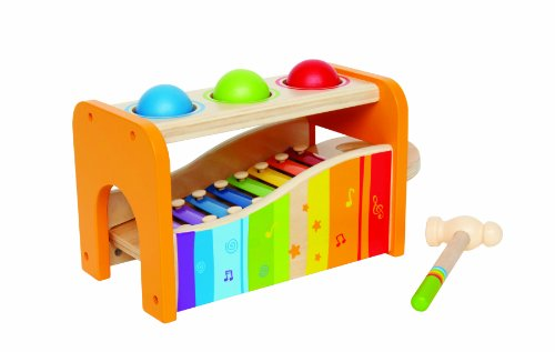 Hape Pound & Tap Bench with Slide Out Xylophone - Award Winning Durable Wooden Musical Pounding Toy for Toddlers, Multifunctional and Bright Colours, Yellow