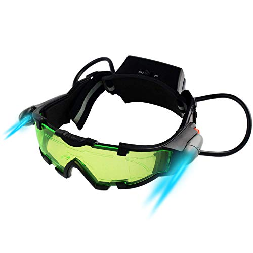 Yolyoo Spy Night Vision Goggles, Adjustable Kids LED Night Goggles Flip-Out Lights Green Lens for Racing Bicycling, Skying to Protect Eyes Children's Day Gift