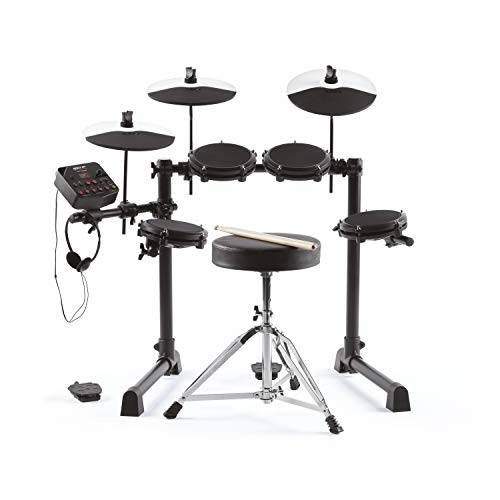 Alesis Debut Kit – Kids Drum Kit With 4 Mesh Electronic Drum Set Pads, 120 Sounds, 60 Lessons, Drum Stool, Drum Sticks, Drum Key and Headphones