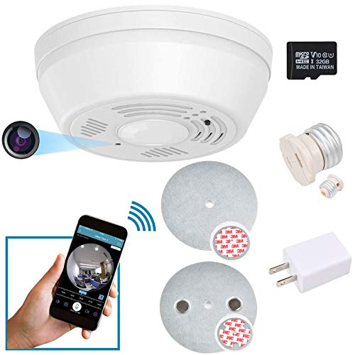 Dummy Smoke Detector 32Gb Included WiFi Motion Detection Hidden Surveillance Camera Night Vision w. 180 Days Standby Battery & Magnetic Pads Recessed Light Trim Installation Tool (Downview)