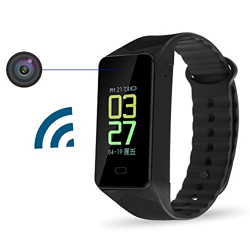 Aipinvip Hidden Cameras WiFi Camera Mini Small Cams Portable Wearable Sports Bracelet Wireless Hidden Nanny Security Cam with Bluetooth,Step Counter, Calorie Counter