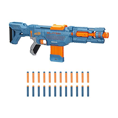 Nerf Elite 2.0 Echo CS-10 Blaster – 24 Official Nerf Darts, 10-Dart Clip, Removable Stock and Barrel Extension, 4 Tactical Rails