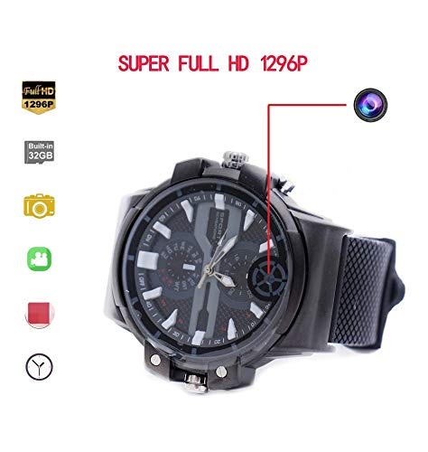 KEQI Super HD motion detection 2K Resolution Camera Wrist Smart Watch Camera 32G Video Photo Audio Recording (Built-in 32GB)