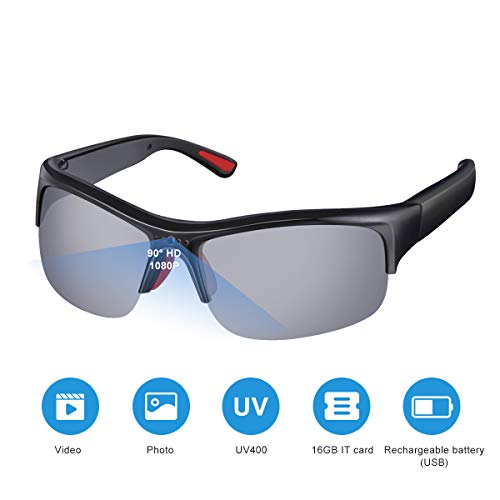 SKYWAY Spy Glasses 1080P HD Video Camera Sunglasses Hidden Spy Cameras with Polarized Lens for Outdoor Sports UV400 Protection Black