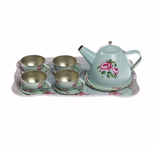 Rose Floral English Tea Sets for Children in a Case - Teapot Set cups toys for Kids - Toy sets case sets - Children Teapot and Cup set for one to 4 - Tea Party Sets for Kids in a case 21cmx30cmx11cm
