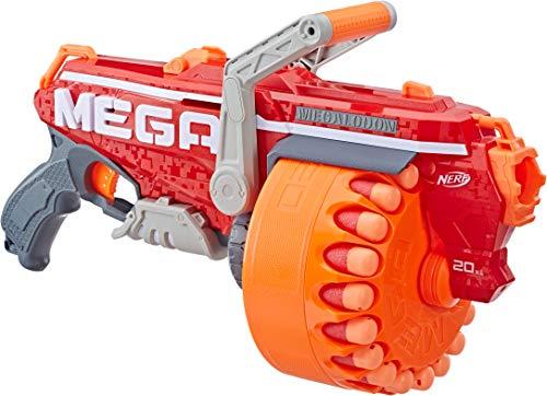 Megalodon Nerf N-Strike Mega Toy Blaster with 20 Official Mega Whistler Darts Includes: Blaster, Drum, 20 Darts, & Instructions