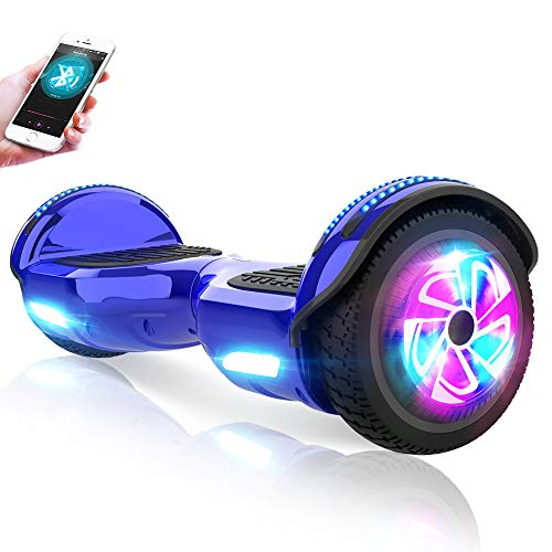 M MEGAWHEELS 6.5' Electric Scooters Self-Balancing Hover Scooter Board with Built-in Wireless Speaker, LED Lights and UL Certified, Max Load 100kg, 500W Motor for Kids Adults