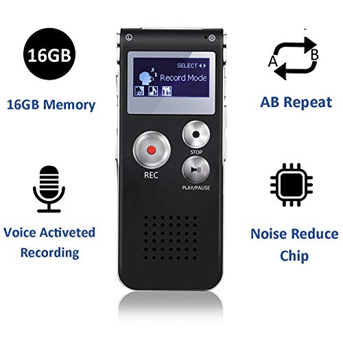KINOEE Digital Recorder Voice Activated Recorder-8GB with Playback, Mini Audio Recorder for Lectures, Meetings, Interviews, Portable Tape Dictaphone with USB, MP3