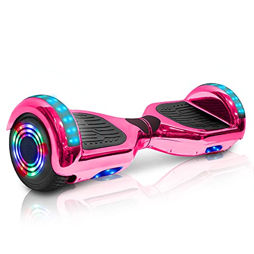 Wilibl Hoverboard for Kids Ages 6-12 Electric Self Balancing Scooter with Built in Bluetooth Speaker 6.5' Wheels LED Lights Hover Board Safety Certified (Chrome Pink)